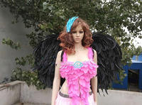 Black angel feather wings Magazine shooting Display Party wedding decoration supplies model show props EMS Free shipping