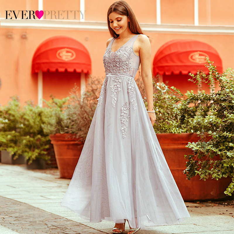 Prom     Dresses   2019 Ever Pretty Women's Fashion Elegant Grey A Line V Neck Sleeveless Lace Appliques Tulle Formal Party Gowns