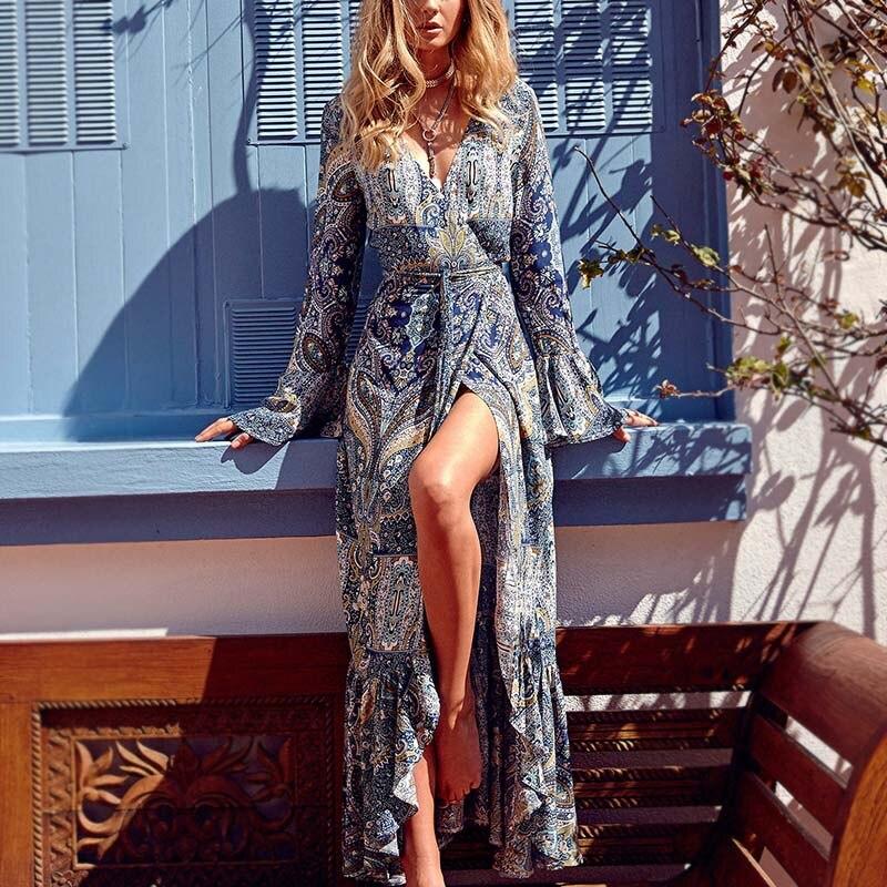 Long-sleeved Bohemian Dress Beach Long Dress Deep V-neck Sexy Cool Summer Big Split FS99