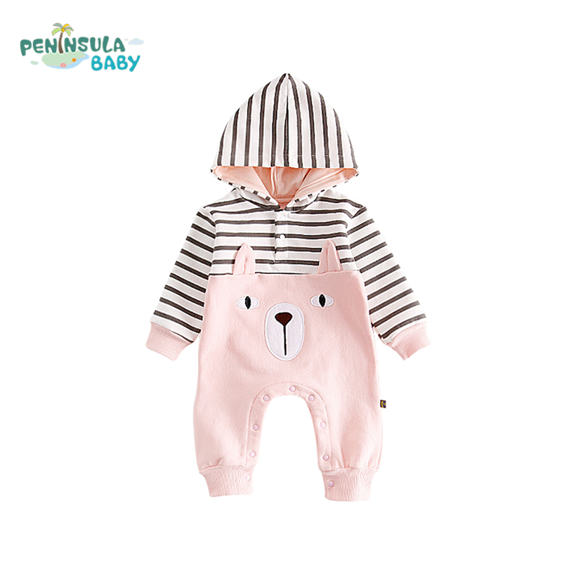 Newborn Baby Rompers Cartoon Bear Striped Boys Hooded Winter Warm Infant Long Sleeve Jumpsuits Baby Girl Thicken Clothes cotton baby rompers set newborn clothes baby clothing boys girls cartoon jumpsuits long sleeve overalls coveralls autumn winter