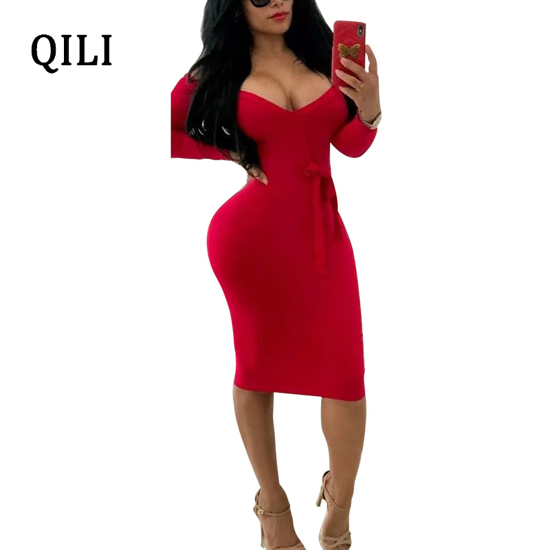 QILI Women Sexy Off The Shoulder Dress Deep v neck Long Sleeve Bow Pencil Dresses Black Red and Wine red Bodycon