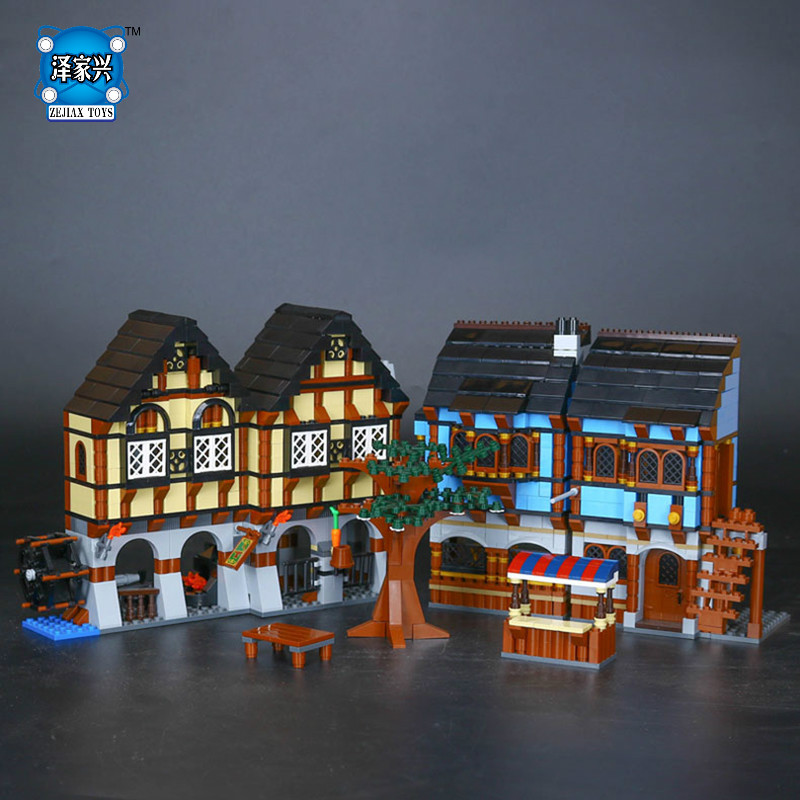 Medieval Market Village Building Bricks Blocks Figures Toys for Children Boys Game Model Car Gift Compatible with Lepins 10646 160pcs city figures fishing boat model building kits blocks diy bricks toys for children gift compatible 60147