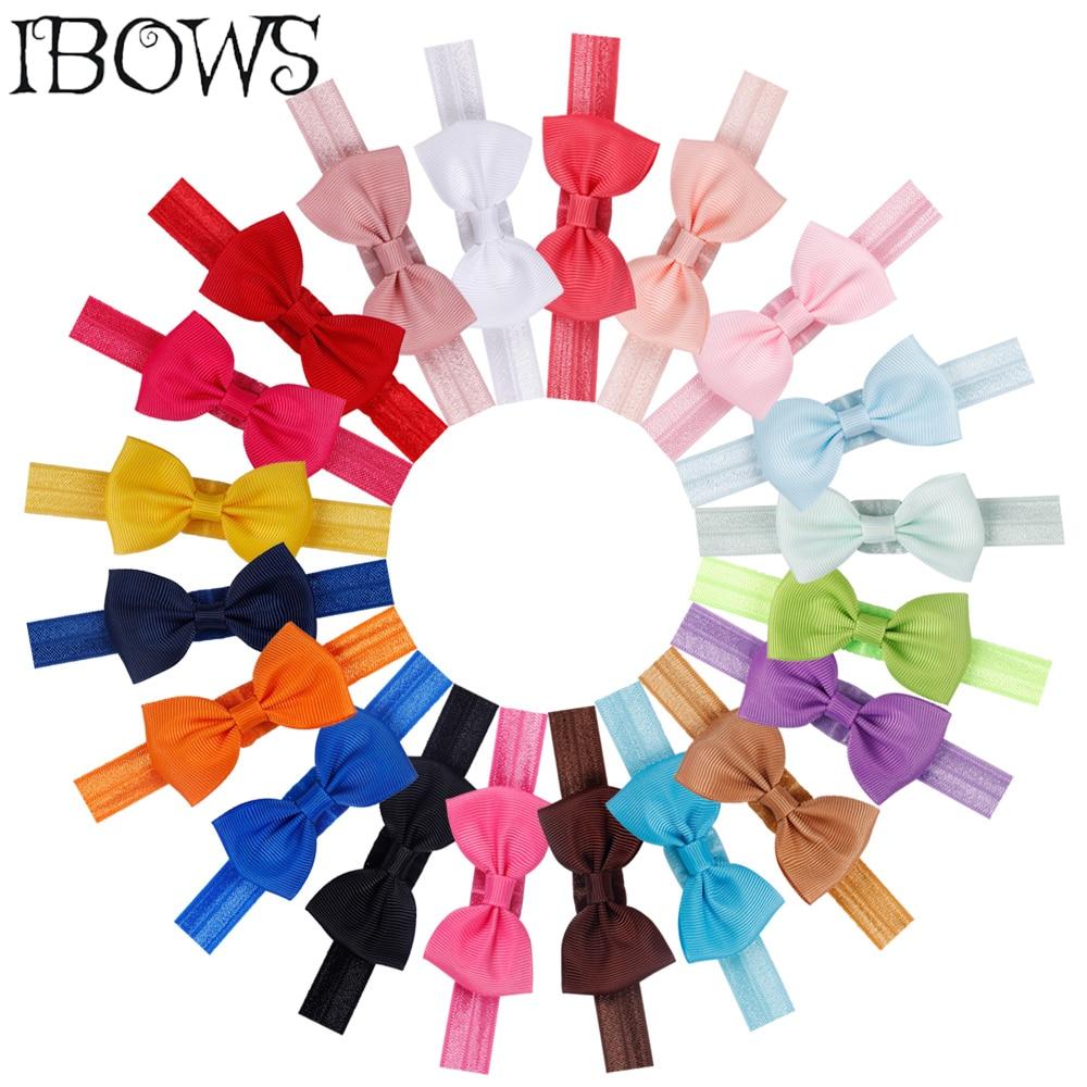 10Pcs/Lot Solid Mini Hair Bows Headband Lovely Kids Elastic Nylon Hair Bands For Newborn Girls Handmade Wholesale Headwear