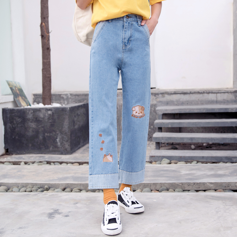 Harajuku Fashion Cotton Women Denim Jeans High Waist Curled Denim Pants Sweet Cute Puppy Embroidery Girls Denim Trousers