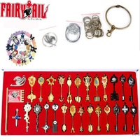 New 29Pcs/set Fairy Tail Lucy Heart Celestial Spirit Gate Key Chain Necklace Pendant Weapons Set