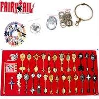 New 29Pcs/set Fairy Tail Lucy Heart Celestial Spirit Gate Key Chain Necklace Pendant Weapons Set