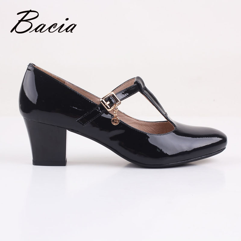 05a8ba47819e Bacia Womens Genuine Leather Mary Jean High Heels Dress Platform Pump Stiletto  Shoes Russion Size Black Square Pumps Shoes VD018-in Women s Pumps from  Shoes ...