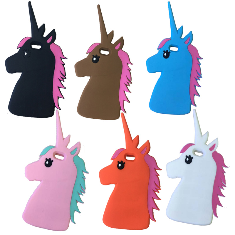 Hot!New Fashion 3D Cute Cartoon Unicorn Soft Silicon Rubber Case Cover IPhone 6 6S Plus 5 5S 4 4S 7 7Plus White Horse Cases  -  LIAMTUdirect store