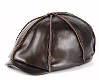 2019 real leather Fashion Men genuine leather CapLuxury Military Caps Black Real Leather Sailor Hats Flat