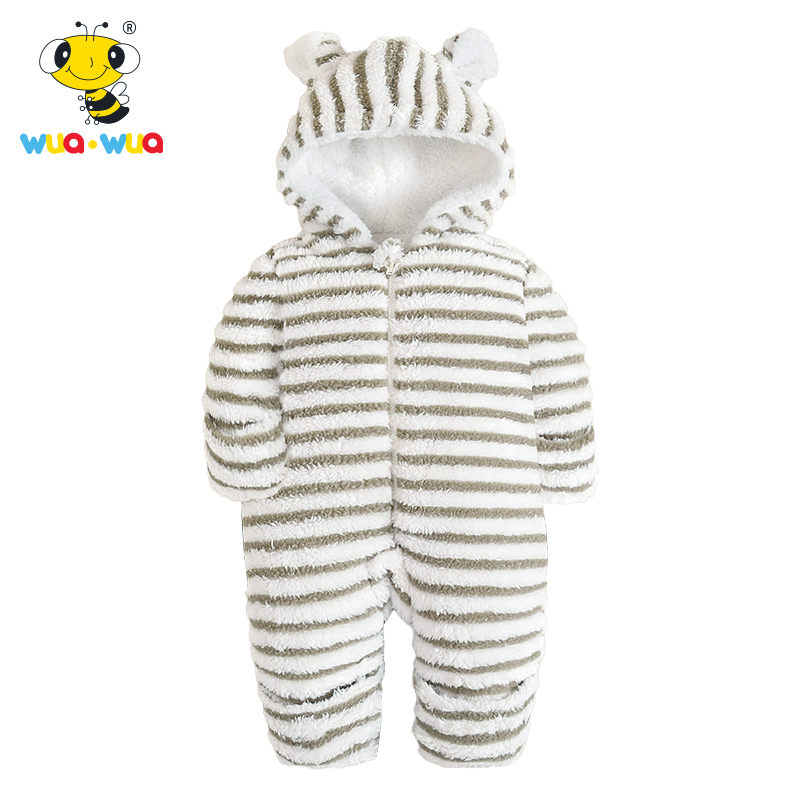 Flannel stripe Baby Rompers Baby Clothes Cartoon embroidery  children warm down cotton baby warm winter coat