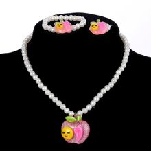 Children Apple Pendant Necklace Bracelet Ring Acrylic Kids Simulated Pearl Jewelry Sets for Baby(China)