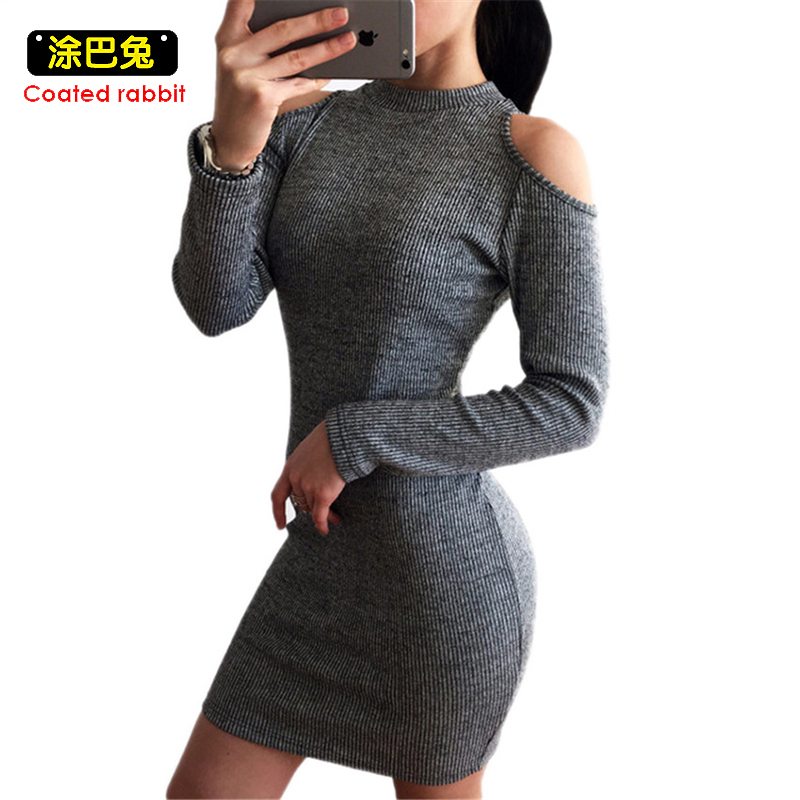 Coatted rabbit Gray Sexy Off Shoulder Knitted Dress 2018 Women Cotton Slim Bodycon Dresses Pullover Female Winter Party Dress new 2017 hats for women mix color cotton unisex men winter women fashion hip hop knitted warm hat female beanies cap6a03