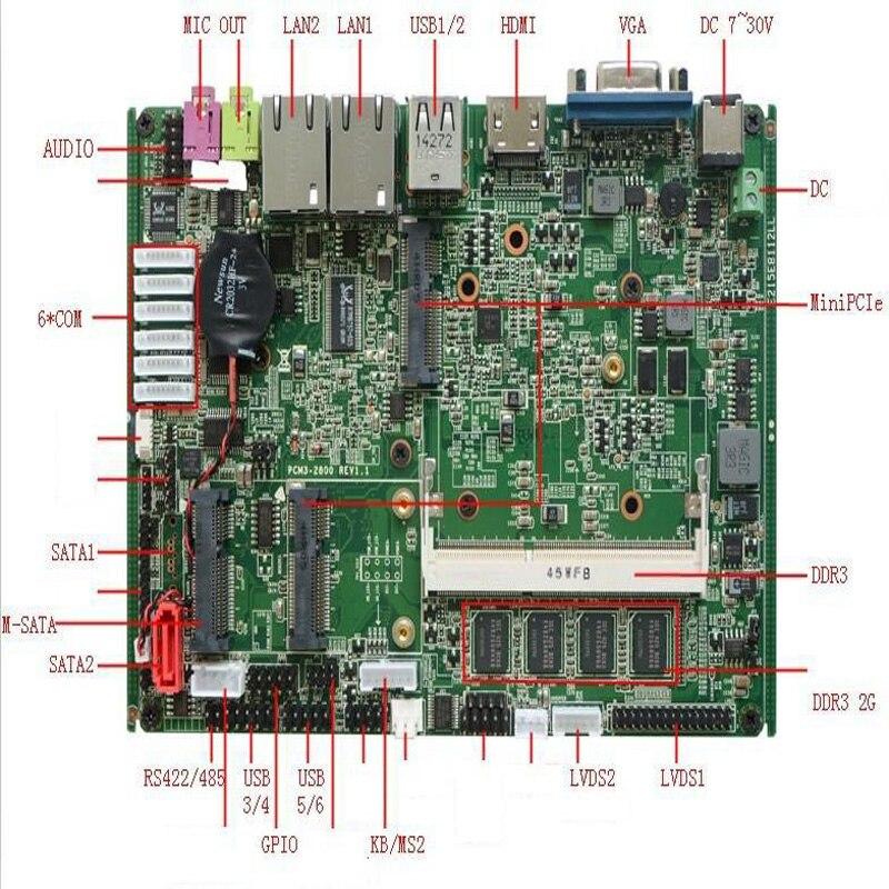 Intel Atom N2800 Processor 2xLAN 6xCOM RS485 Industrial Firewall Mini Itx Motherboard