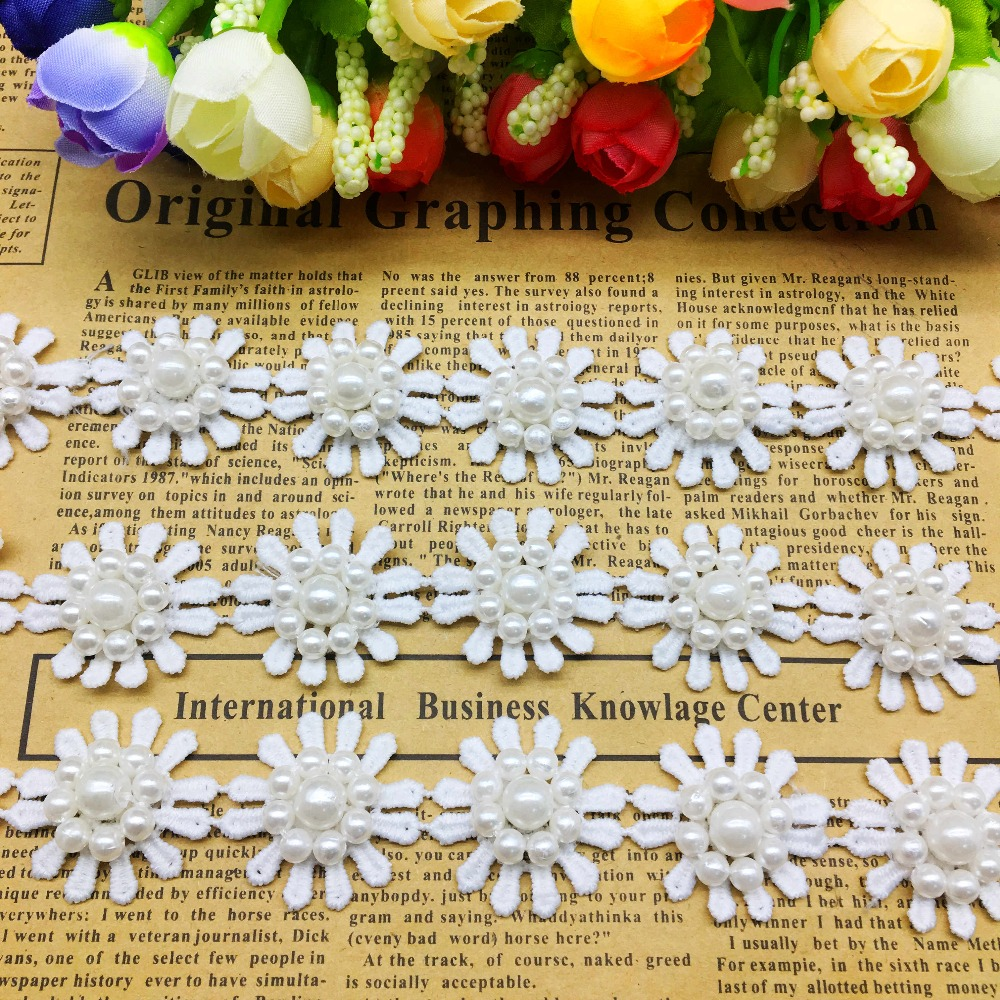 20//50x Diamond Daisy 3D Flower Embroidered Lace Trim Ribbon Fabric Sewing Craft