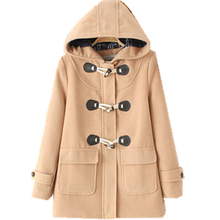 Winter New Women woolen Coat Hooded long section Jackets And Coats Horn Button Cotton coat Padded Warm loose Woolen Coat