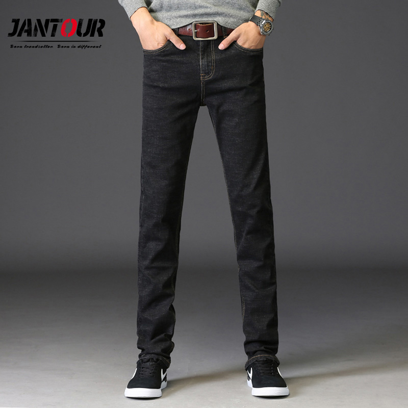 jantour Brand winter Men Jeans Size 28-40 Black Stretch Denim Straight Fit Men Jean for Man Pants fashion Loose thick Trousers airgracias elasticity jeans men high quality brand denim cotton biker jean regular fit pants trousers size 28 42 black blue