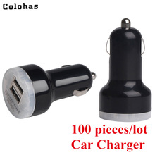 100pcs/lot Universal Car Charger 2.1A Dual USB Port Charger for iPhone 4 4S 5 5S 6 6S iPod Nano iPad Tablet Samsung HTC GPS MP3 portable 2200mah power battery charger usb flashlight for iphone 5s ipod samsung htc black