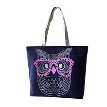 Designer Handbags High Quality 2016 Fashion Lady Owl Print Shopping Shoulder Canvas Bag Tote Purse bolsos femenina