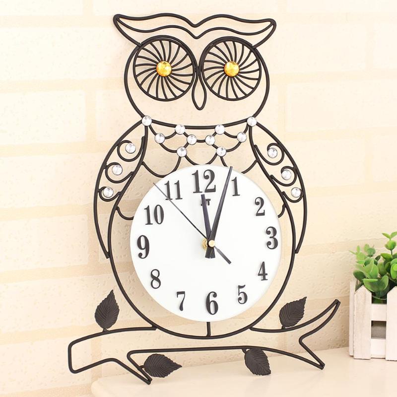 Owl Wall Clock 3D DIY Cartoon Bird Style Vinyl Real Clocks Wall Hanging Clock For Living Room Bedroom