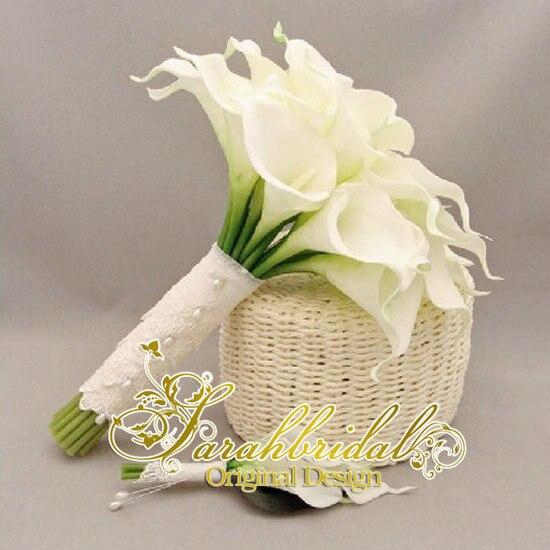 Цветок искусственный цветок букет свадебный букет цветы Калла Лили Свадебный Свадьба Декор Букет Латекс Сенсорный Букет