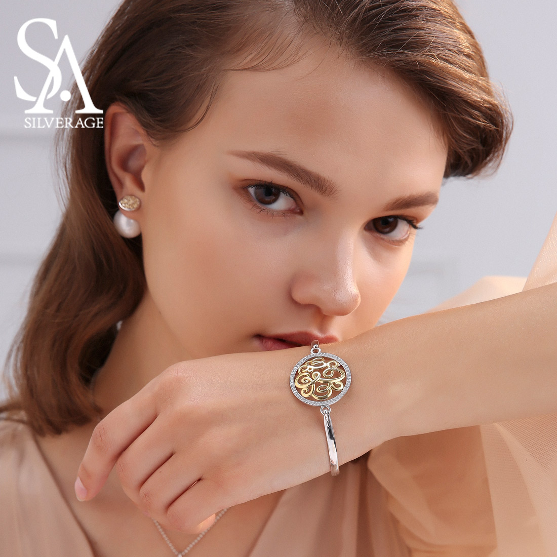 Trendy Jewelry Real 925 Sterling Silver Round Disc Bnagles Bracelets for Woman AAA Zirconia 14K Yellow