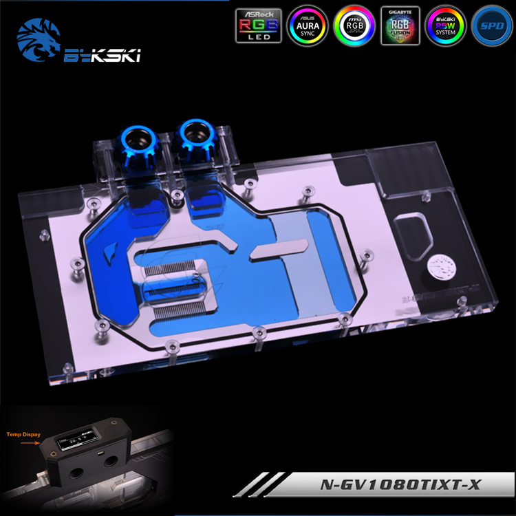 Bykski N-GV1080TIXT-X RGB Light Full Coverage VGA Water Cooling Block for Gigabyte AORUS GTX 1080 Ti Xtreme Edition image