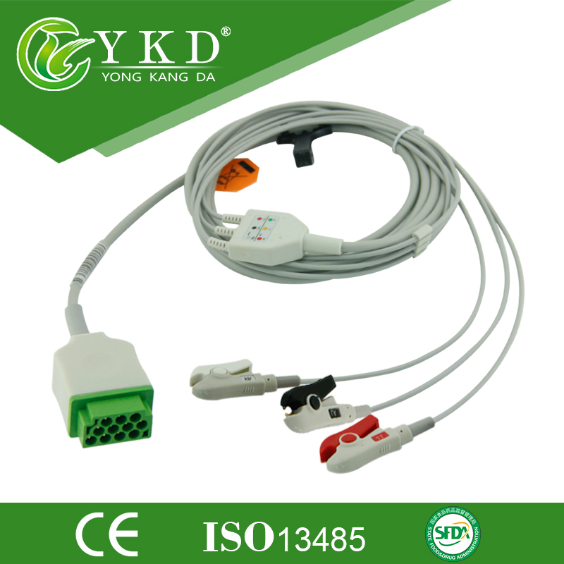 Free shipping one-piece series patient cable with leads AHA,3LD,CLIP, 11pinFree shipping one-piece series patient cable with leads AHA,3LD,CLIP, 11pin