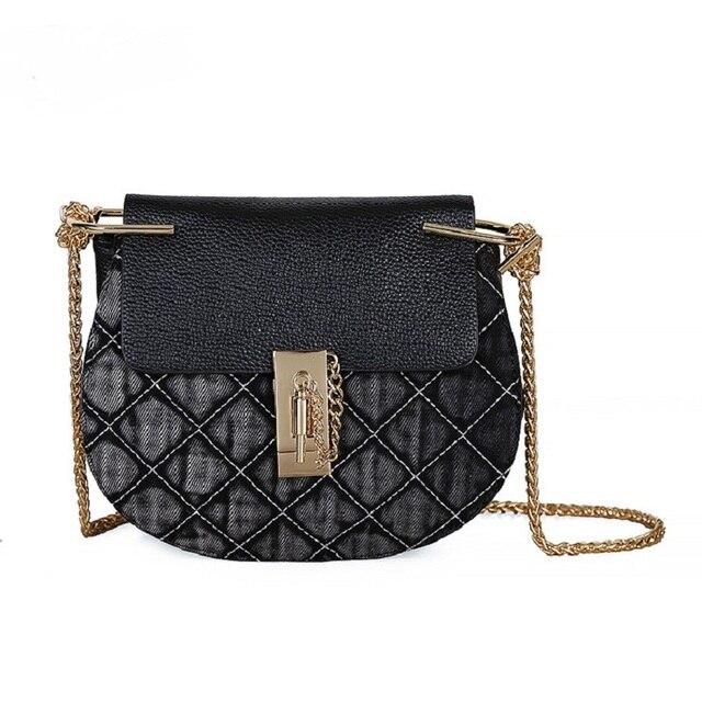 3cf5108ee3 Vintage Leather Denim Jeans Shield Lock Shoulder Bags Girls Handbags  Crossbody Bag Women Messenger Bags Purse