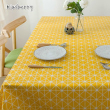 Nordic Style Yellow Plaid Print Multifunctional Rectangle Nappe Linen Table Cloth Cover Tablecloth Home Decoration Tablo Saias simanfei linen table cloth country style plaid print stylish rectangle table cover tablecloth home kitchen decoration