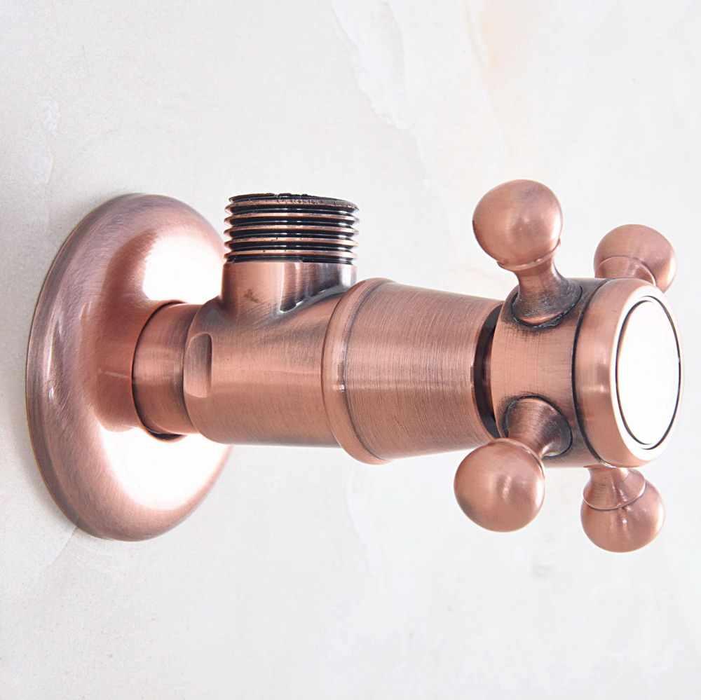 """2 個アンティーク赤銅真鍮ヴィンテージレトロなクロス浴室アングルストップバルブ 1/2 """"男性の x 1/2"""" おねじ aav012"""