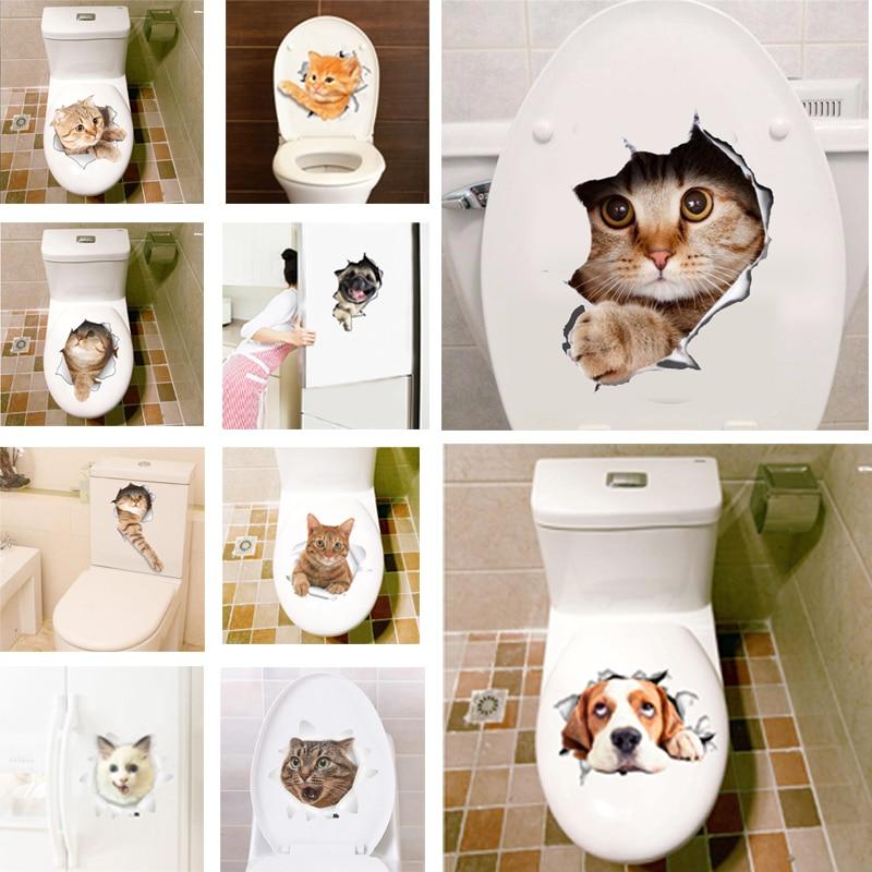 3D Hole View Vivid Cats font b Wall b font Sticker Bathroom Toilet Living Room refrigerator