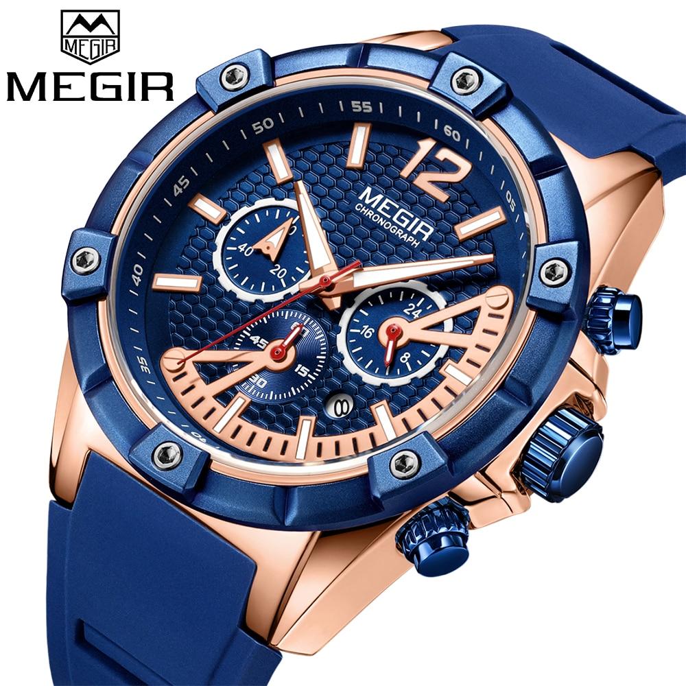 MEGIR Sport Watch Men Waterproof Gold Mens Watches Top Brand Luxury Silicone Clock Luminous Quartz Watch 24-hour Reloj Hombre все цены