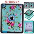 Shockproof Heavy Duty Blue Flower 3 in 1 Case for ipad 2 3 4 TPU Hard Case Funda for ipad 3 PC Cover for Apple iPad2 ipad3 ipad4
