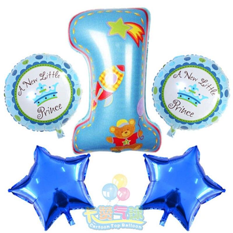 5pcs / lot 번호 1 호 풍선 풍선 핑크 블루 공기 숫자 풍선 아이들 생일 파티 베이비 샤워 장식 ballon 파티 용품