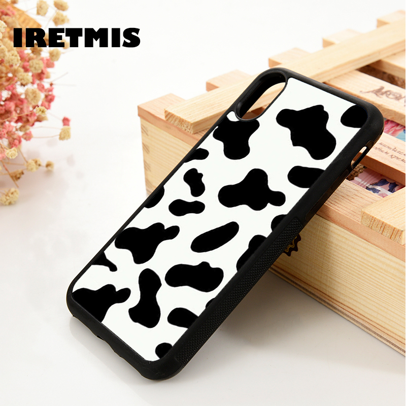 Iretmis 5 5S SE 6 6S Soft TPU Silicone Rubber phone case cover for iPhone 7 8 plus X Xs 11 Pro Max XR Cow Print Black White