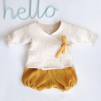 Noworodek Baby Boy dziewczyna stałe Kimono T-shirt topy szorty stroje 2 sztuk zestaw pościel ubrania dla dzieci unisex chłopięcy kombinezon jednoczęściowy dla niemowląt nowy