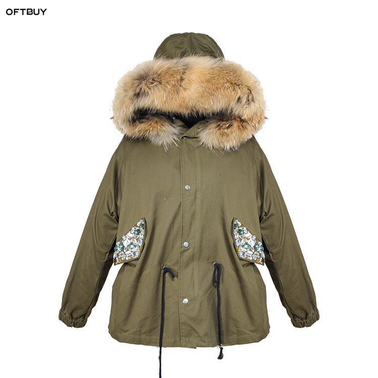 OFTBUY 2019 Spring autumn jacket women Sequins beading army green jacket real raccoon fur collar coat korean fashion   parka