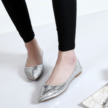 2017 Spring new fashion style Bling silver point shallow flat shoes bridesmaid girl women shoes best selling