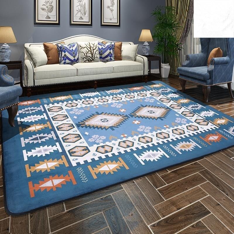 Style méditerranéen tapis pour salon grande surface tapis chevet thé Table tapis chambre grande taille rectangulaire tapis de sol