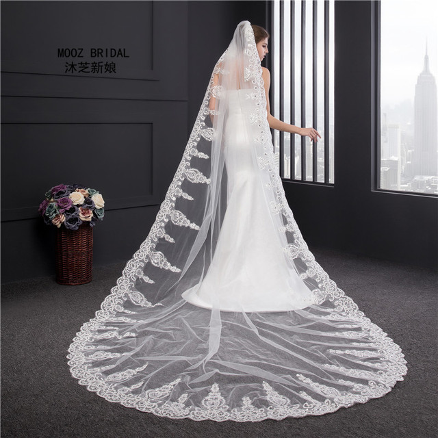Gorgeous Wedding Veil Crystals Sequined 3.5 Meters Cathedral Beading Lace Edge Voile Mariage Luxury One-Layer Appliqued Veils