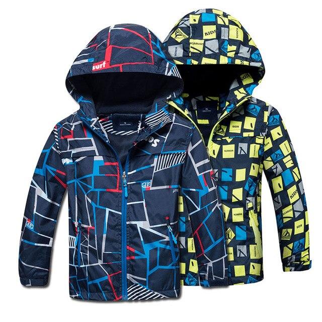 2018 Демисезонный флисовая детская верхняя одежда теплая детская спортивная одежда Курки с защитой от воды и ветра для мальчиков 4-12 лет 2 цвета