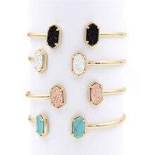 Новинка! Медные маленькие овальные браслеты из полимера, Druzy браслеты с мраморным камнем