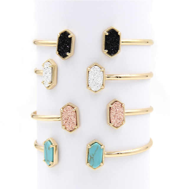 2019 New Copper Small Oval Quartze Resin Druzy Bangles Marble Stone Cuff Bangles for Women