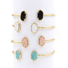 2019 New Copper Small Oval Quartze Resin Druzy Bangles Marble Stone Cuff Bangles for Women(China)