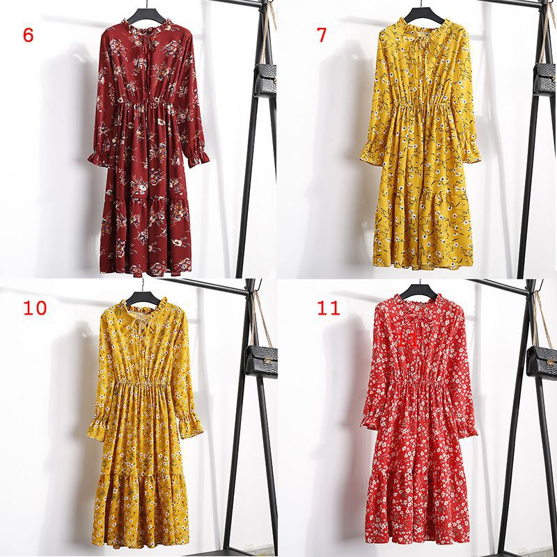 2019 fashion women's chiffon round neck slim long-sleeved floral print pleated lace strap elastic waist dress