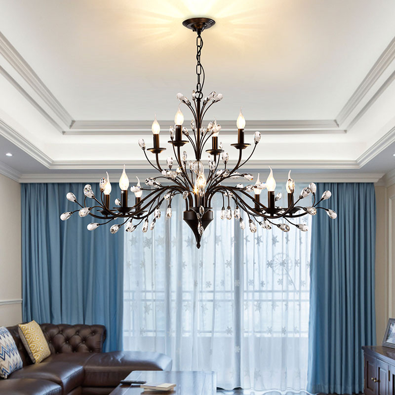 3/6/9/12 heads  American Crystal pendant lamps  Living Room Restaurant Candle Nordic  Iron gorgeous pendant light american country crystal pendant lights european style living room modern bedroom restaurant candle iron lamps lu809182t107