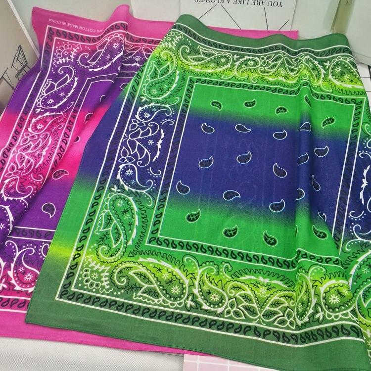 100% Cotton Gradient Colored Paisley Punk Hip Hop Headwear Kerchief Bandanas Foulard Neckerchief Square Scarf for Women/Men/Boys