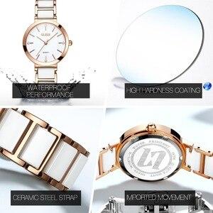 Женские кварцевые часы OLEVS, водонепроницаемые, С Белыми Керамическими стразами, под платье