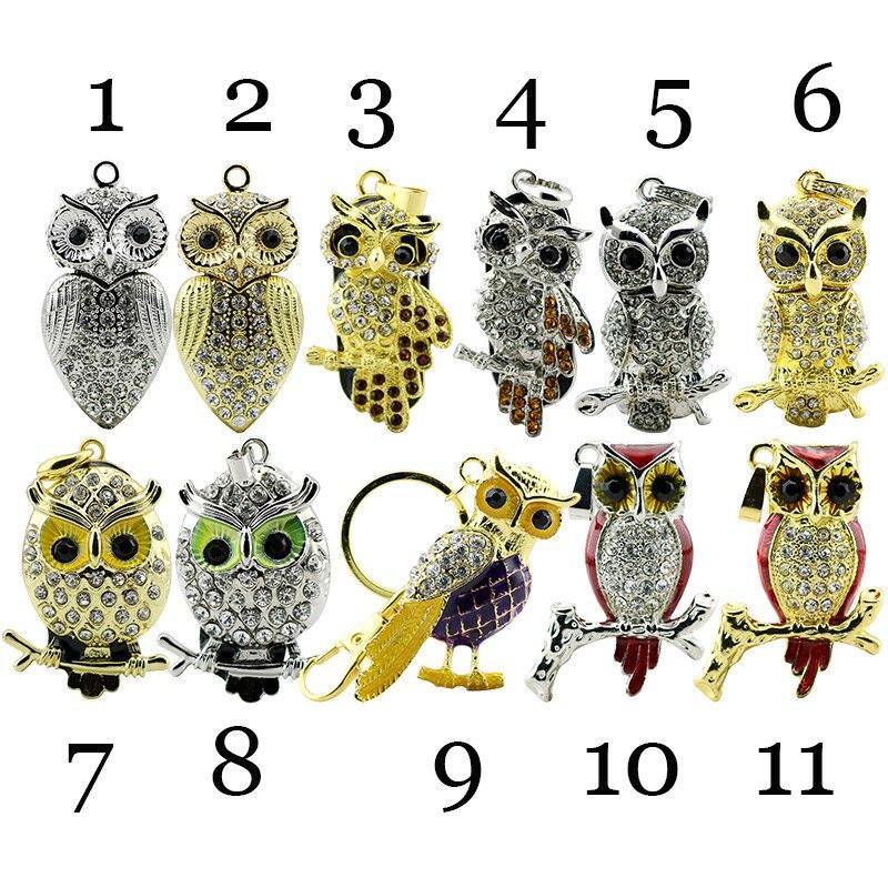 verklig kapacitet USB Flash Drive Diamond Metal Material Owl Cartoon - Extern lagring - Foto 2