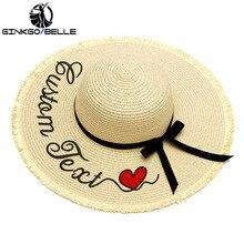 Personalization Customize Name Text Logo Women Sun Hat Large Brim Straw Outdoor Beige Beach hat Summer Cap Dropshipping